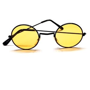 SUN GLASSES - Circle Yellow Lenses - Black Frames